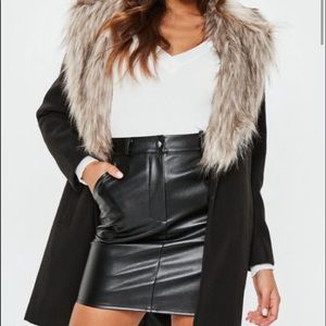 Back fur coat knee length missguided